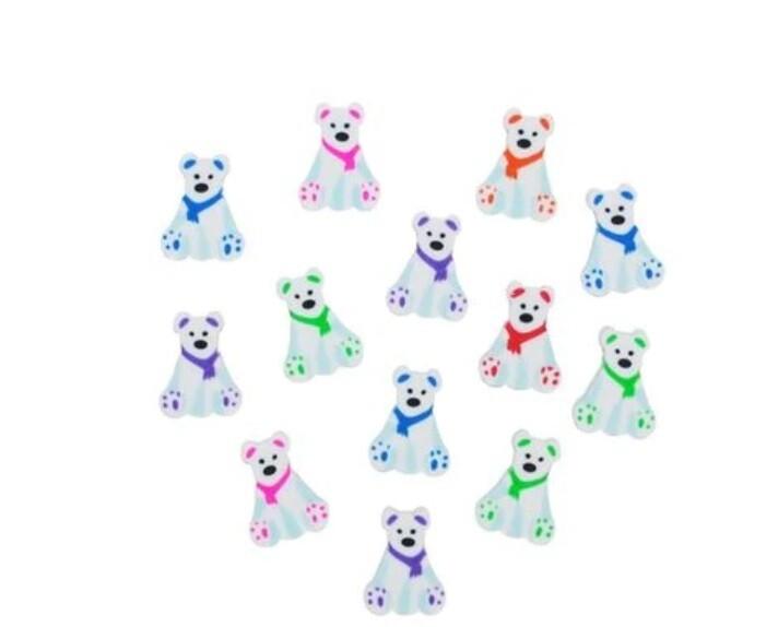 12 Mini Polar Bear Erasers