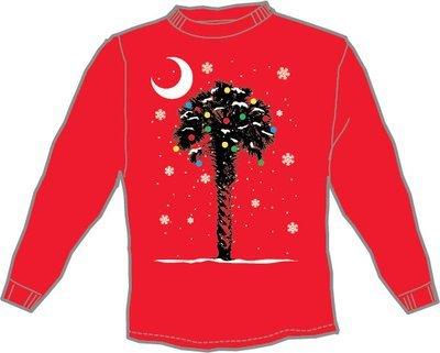 Palmetto Tree Winter/Snow Red Long Sleeve