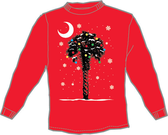 Palmetto Tree Winter/Snow Red Long Sleeve