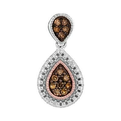 0.16Ctw Chocolate Diamonds Silver Pendant