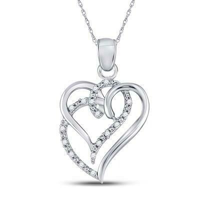0.10Ctw Silver Diamond Heart Pendant