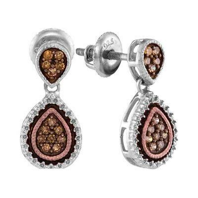 0.20Ctw Chocolate Silver Diamond Earrings