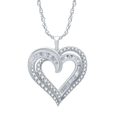 1Ctw Silver Diamond Heart Pendant