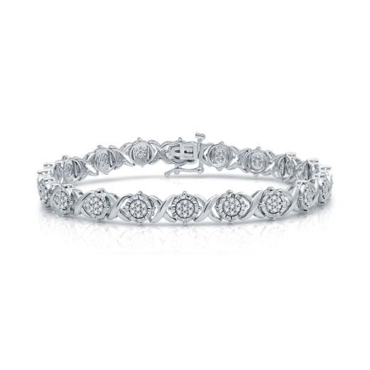 1Ctw Silver Diamond Bracelet