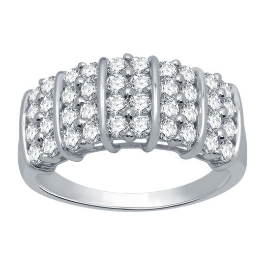 1Ctw Silver Diamond Fashion Ring