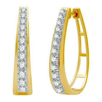 1Ctw Gold over Silver Diamond Hoop Earrings