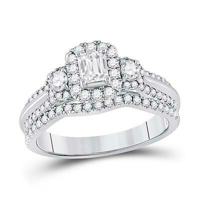 1Ctw Emerald Diamond Wedding Set 14KW