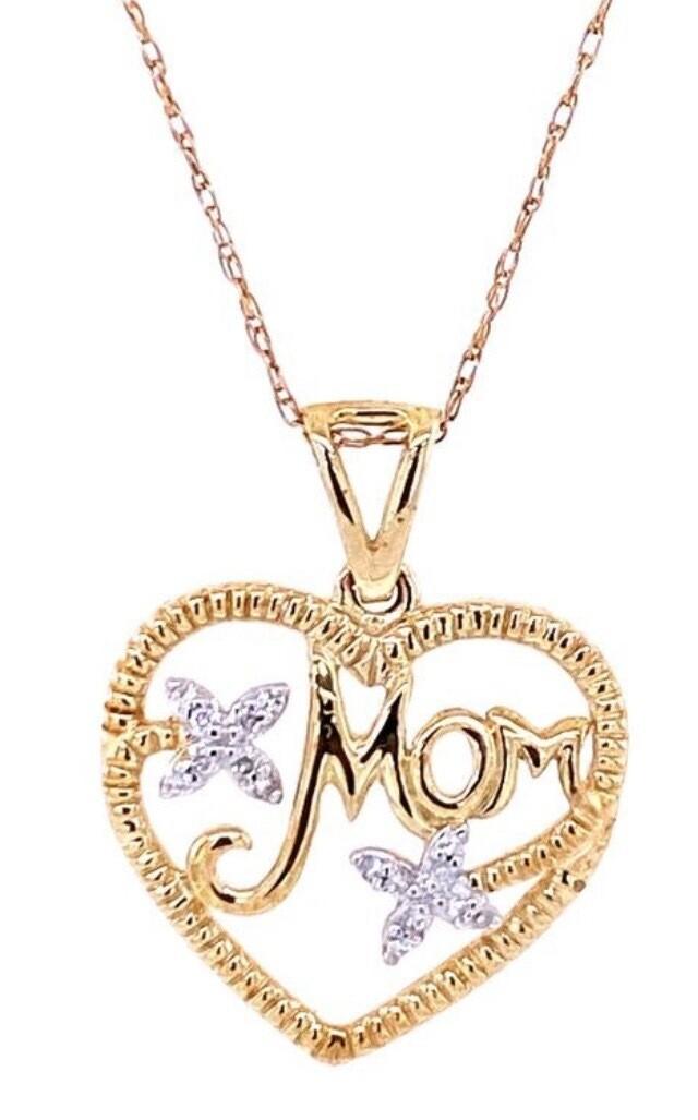 0.03Ctw Diamond Mom Pendant 10KY