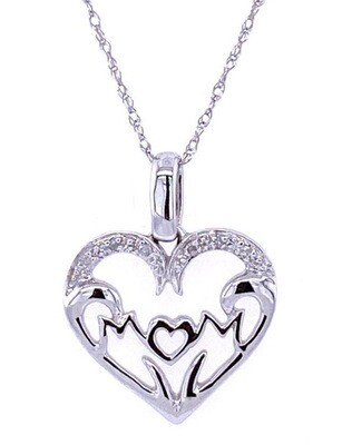 0.03Ctw Diamond Mom Pendant 10KW