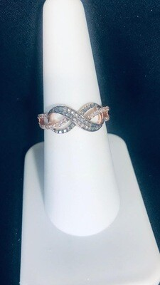 0.33Ctw Chocolate Diamond Infinity Ring 10K Rose Gold