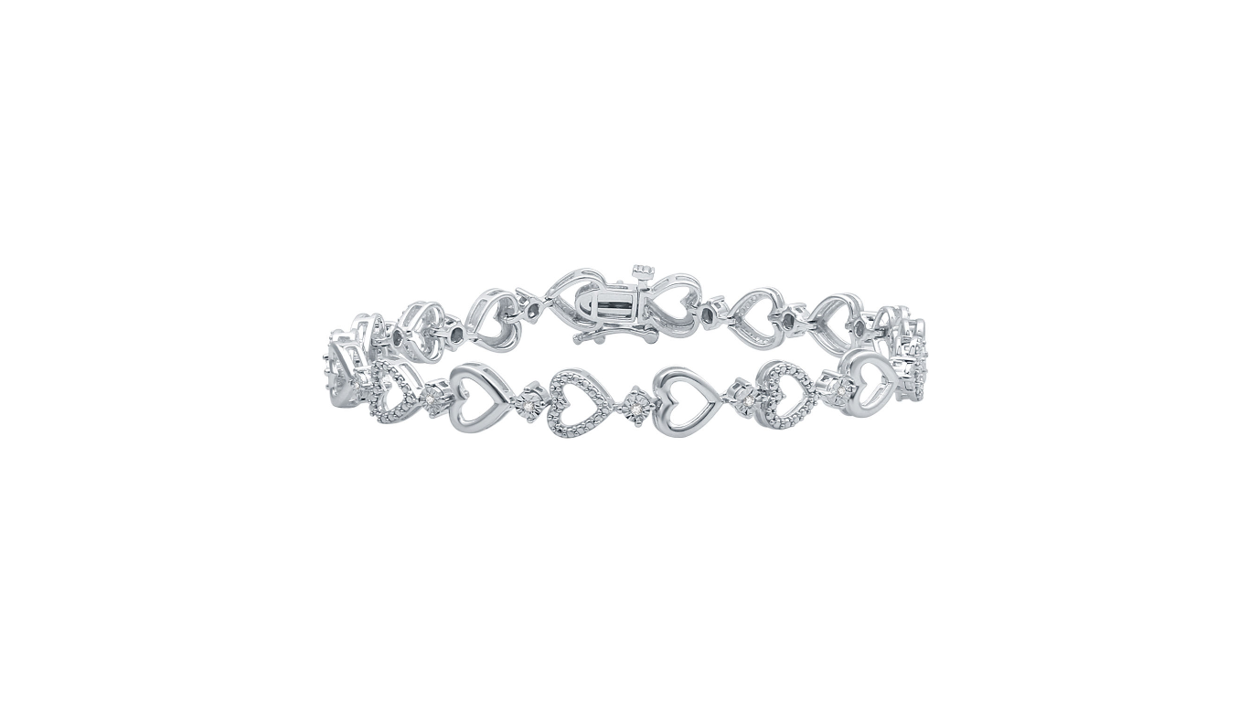 0.10Ctw Silver Diamond Bracelet