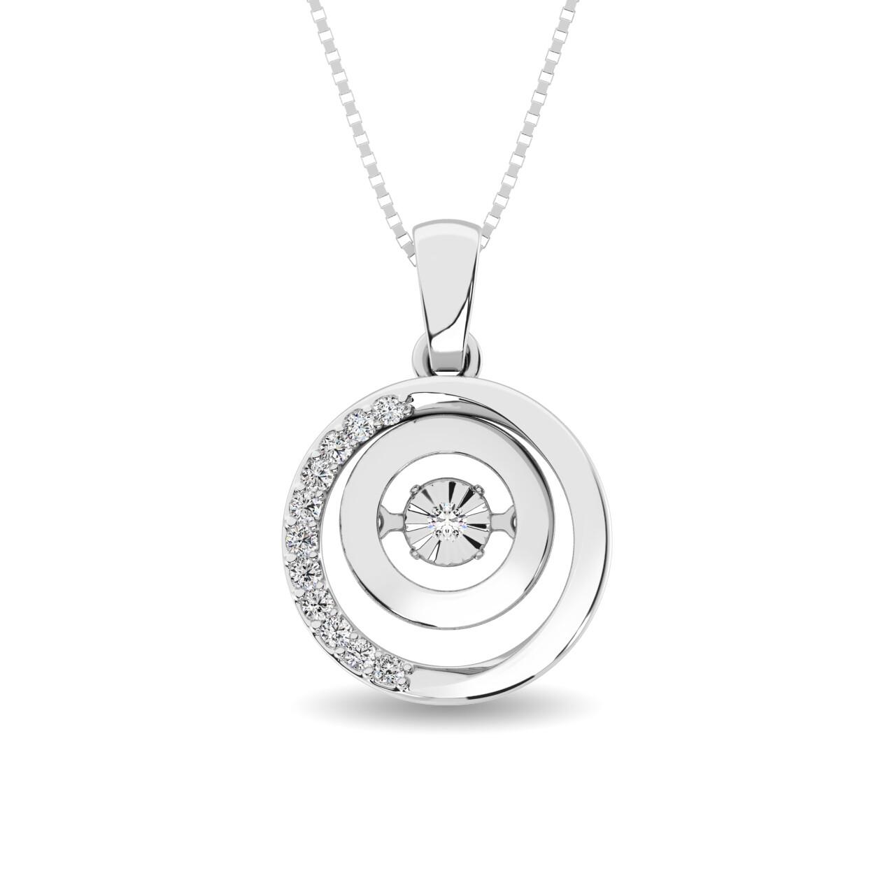 0.10Ctw Silver Circle Dancing Diamond Pendant