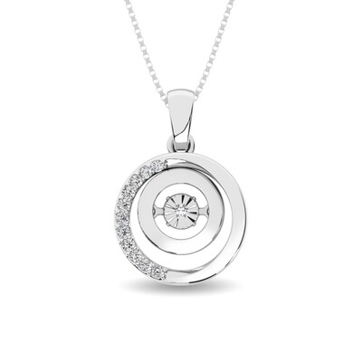 0.10Ctw Silver Circle Dancing Diamond Pendant
