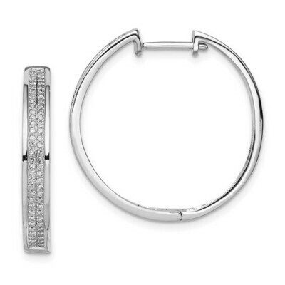 0.33Ctw Silver Diamond Hoop Earrings