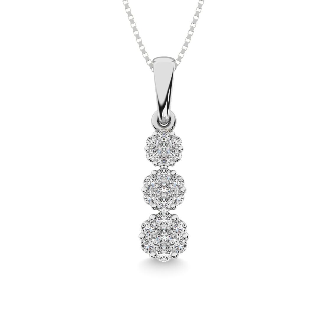 0.25Ctw Past Present Future Diamond Pendant 14KW