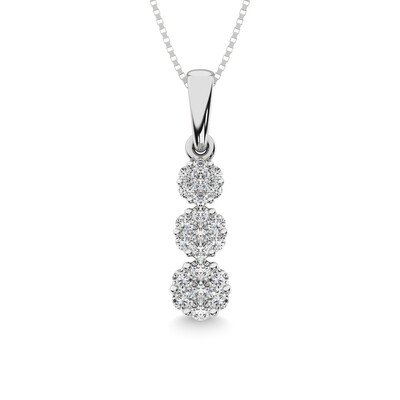 0.25Ctw Past Present Future Diamond Pendant 14KW