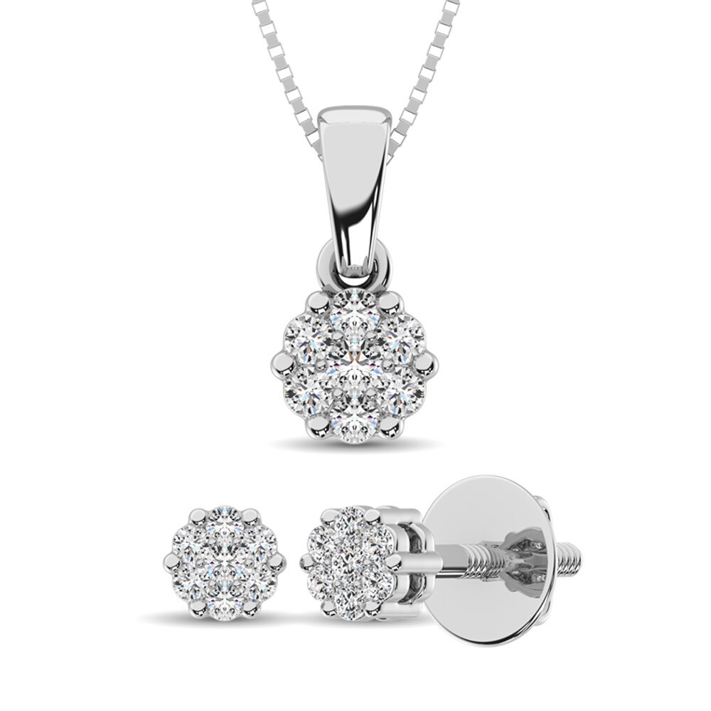 0.25Ctw Silver Diamond Pendant+Earring Set