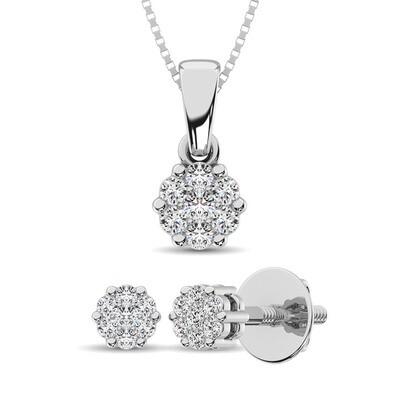 0.25Ctw Silver Diamond Pendant+Earring Set