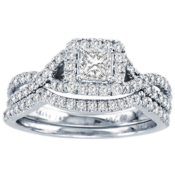 1CTW Princess Diamond Wedding Set 14KW