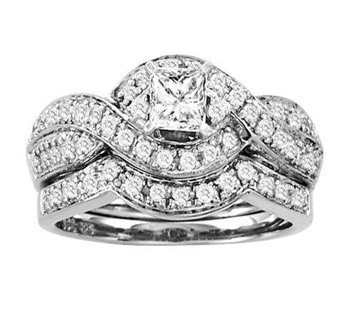 0.50CTW Princess Diamond Wedding Set 14KW