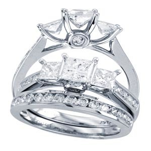 0.50CTW Princess Diamond Wedding Set 14KW