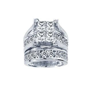 0.25CTW Princess Cut Diamond Wedding Set 10KW