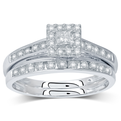 0.50CTW Princess Cut Diamond Wedding Set 10KW