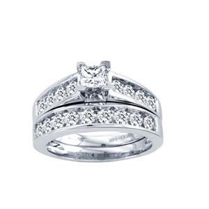 1.50CTW Princess Cut Diamond Wedding Set 10KW