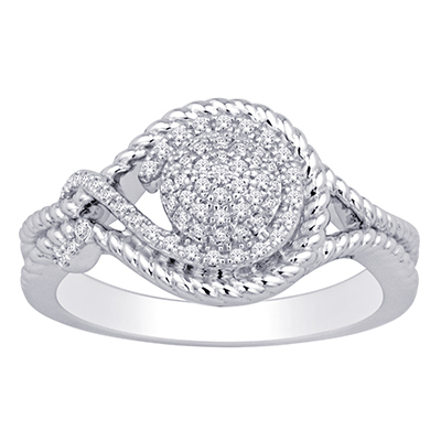 0.16CTW Silver Diamond Fashion Ring