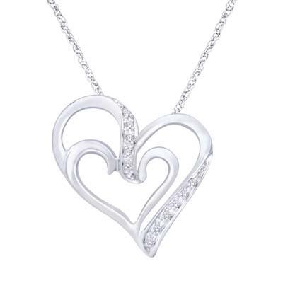 0.05CTW Silver Heart Diamond Pendant