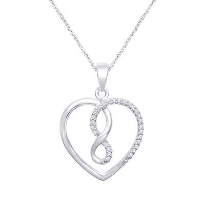 0.16CTW Silver Heart Diamond Pendant
