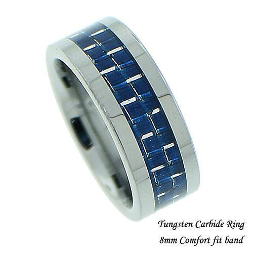 Men's Blue Carbon Fiber Tungsten Band