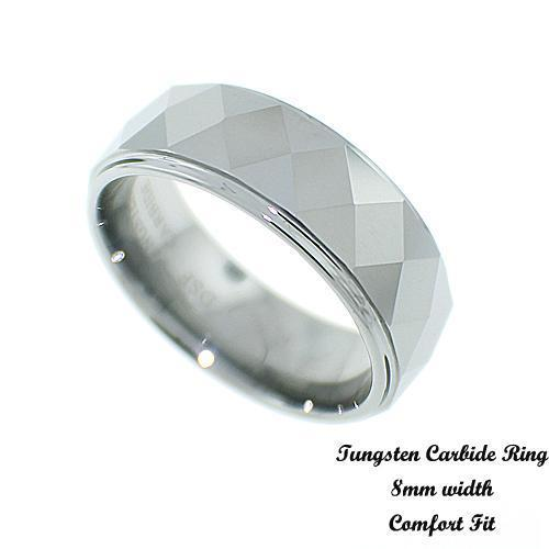 Men's Faceted Tungsten Band