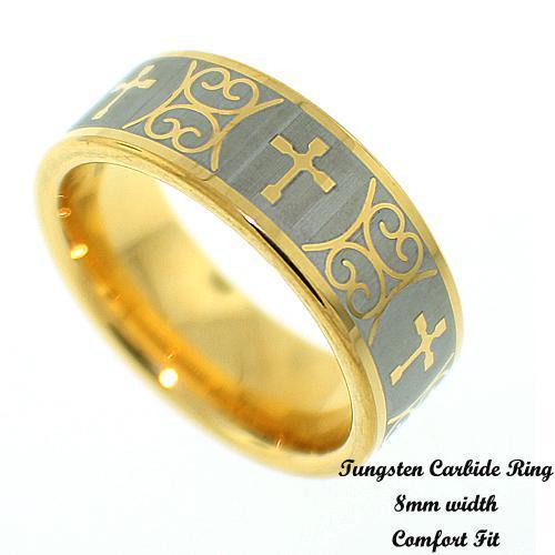 Men's 2 Tone Celtic Cross Design Tungsten Band