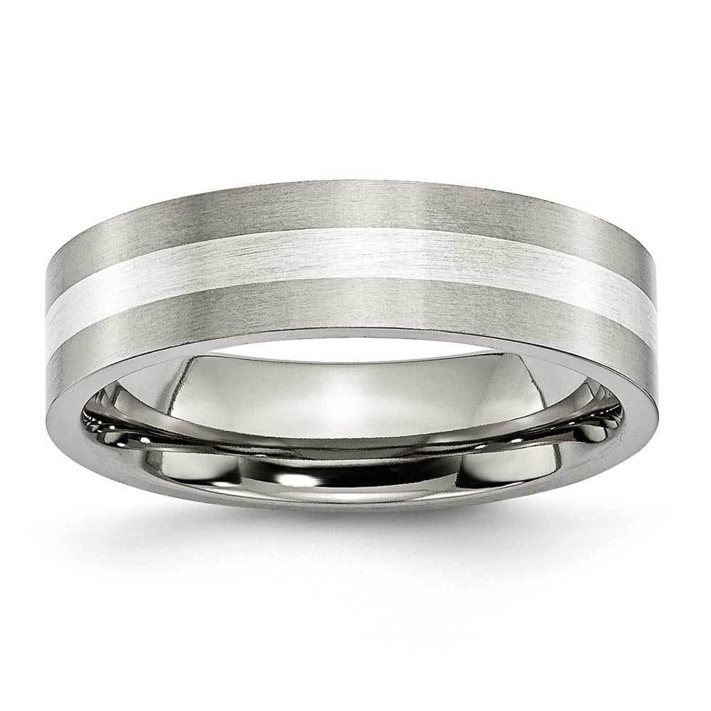 Men's Silver Inlay Titanium Band