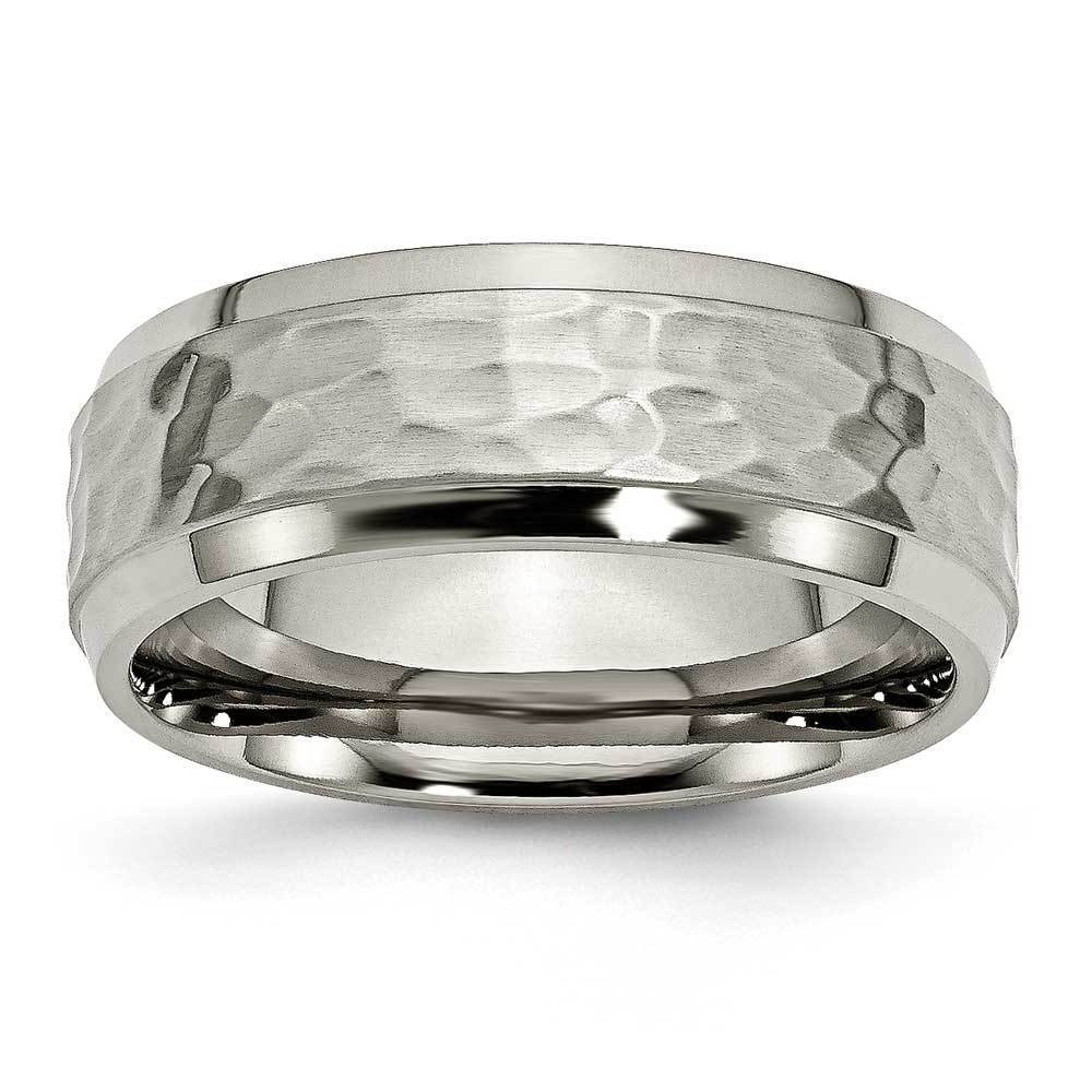 Men's Hammered Look Titanium Band