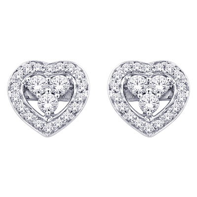 0.16CTW Heart Shaped Diamond Earrings