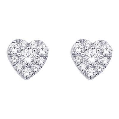 0.25CTW Heart Shaped Diamond Stud Earrings