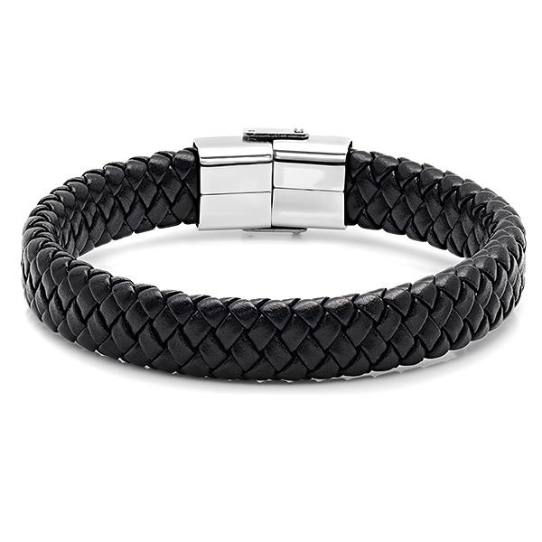 Men's Black Leather/Stainless Steel Bracelet