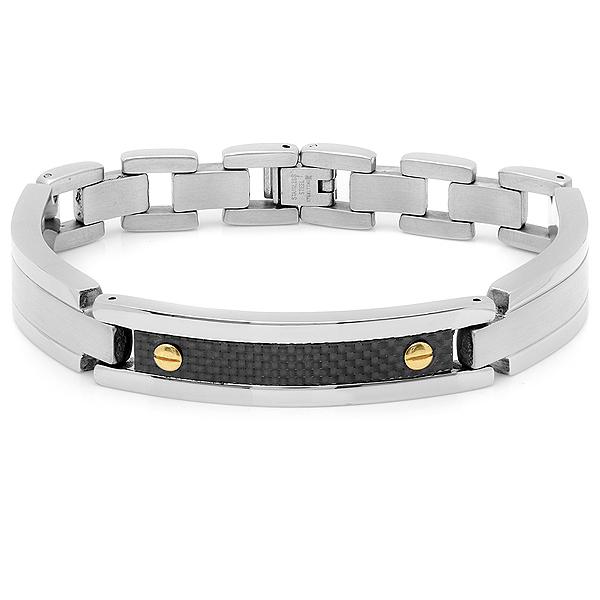 Men's Stainless Steel/Carbon Fiber Bracelet