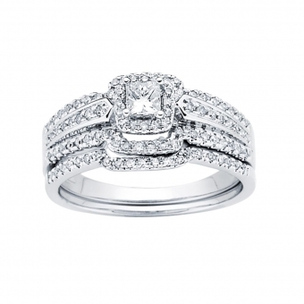 0.50CTW Princess Cut Diamond Wedding Set 14KW