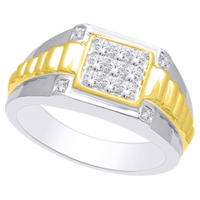 0.50CTW 2 Tone Men's Diamond Ring 10K