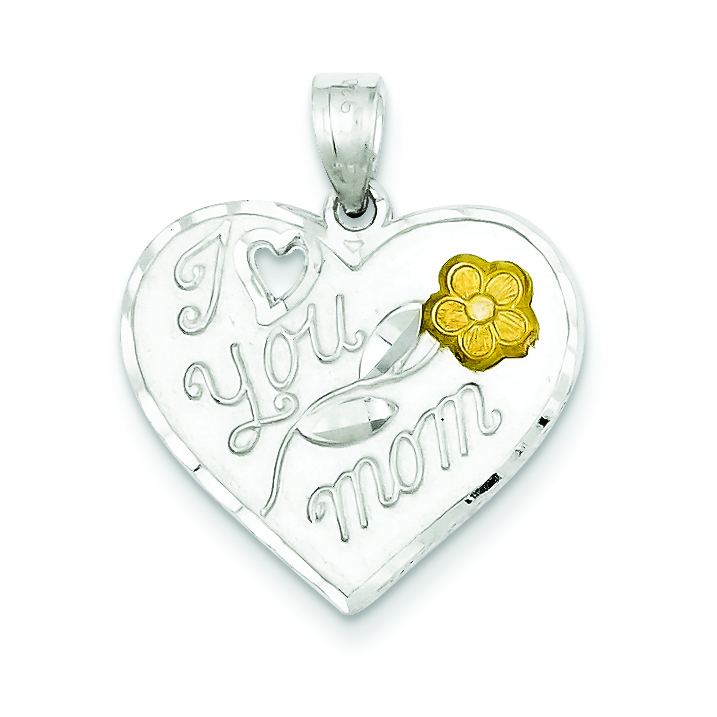 2 Tone Sterling Silver I LOVE YOU MOM Charm Pendant
