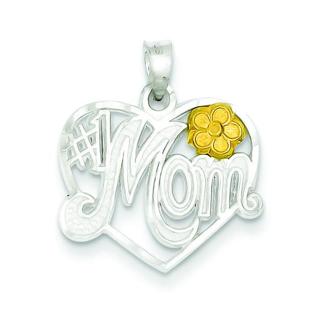 2 Tone Sterling Silver #1 Mom Charm Pendant