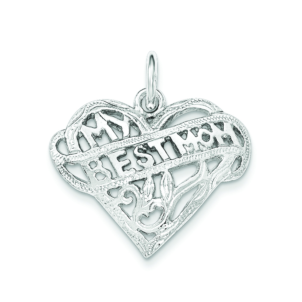 Sterling Silver MY BEST MOM Charm Pendant
