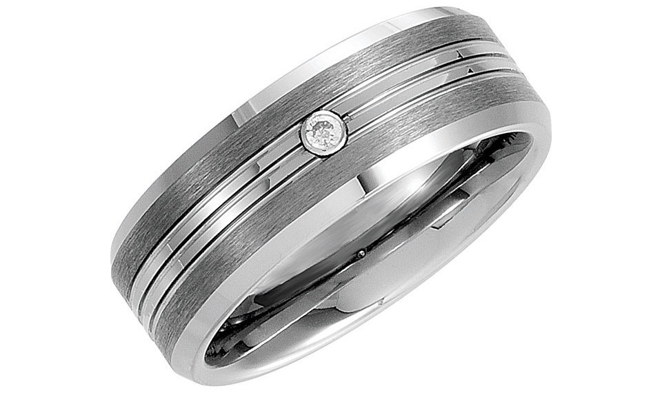 0.05Ctw Men's Genuine Diamond Tungsten Band