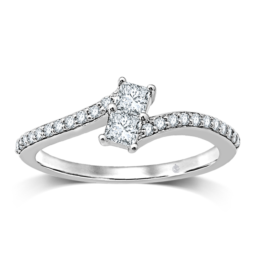 0.25CTW 2 for US Diamond Ring 14KW
