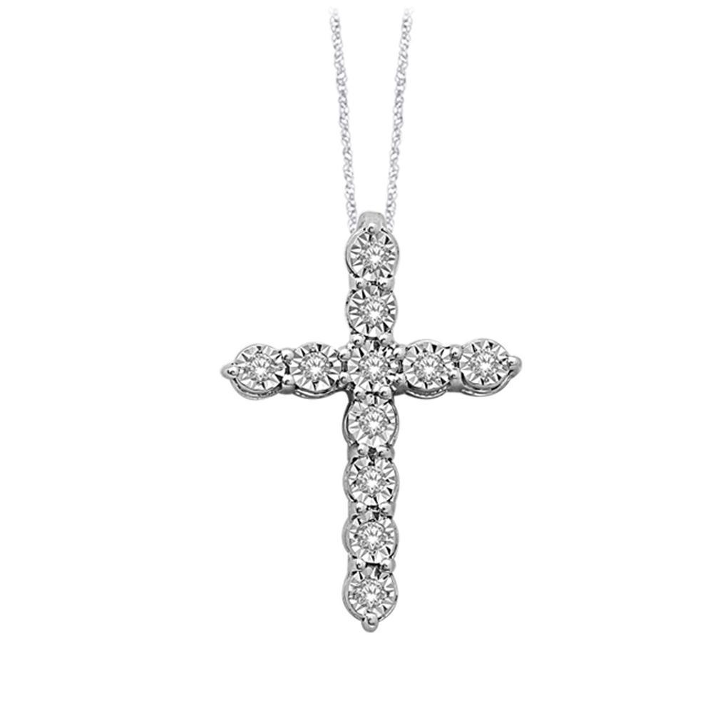0.16CTW Silver Diamond Cross Pendant