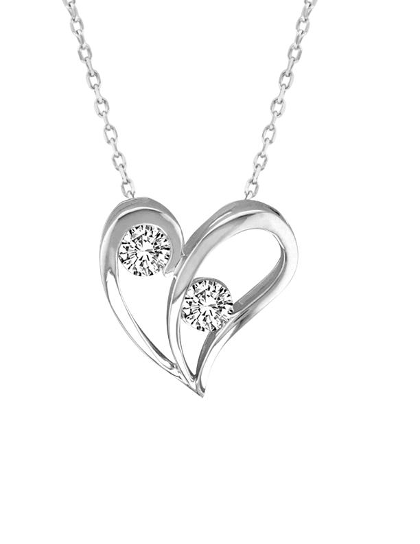 0.10CTW 2 for US Heart Diamond Pendant 14KW