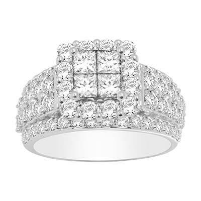 2CTW Princess Cut Diamond Wedding Ring 10KW